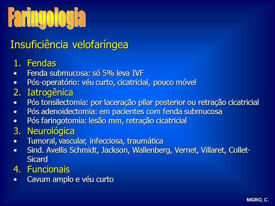 Faringologia Insuficiência velofaríngea Fendas Iatrogênica Neurológica