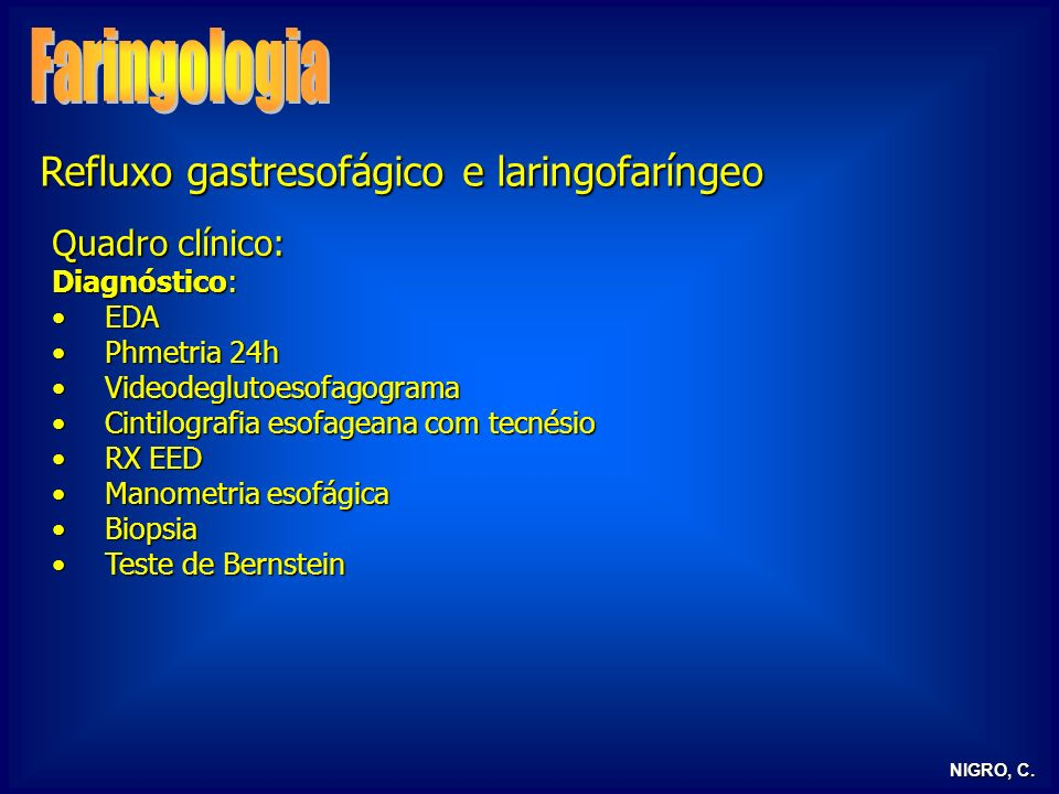 Faringologia Refluxo gastresofágico e laringofaríngeo Quadro clínico: