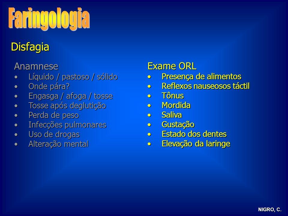Faringologia Disfagia Anamnese Exame ORL Líquido / pastoso / sólido