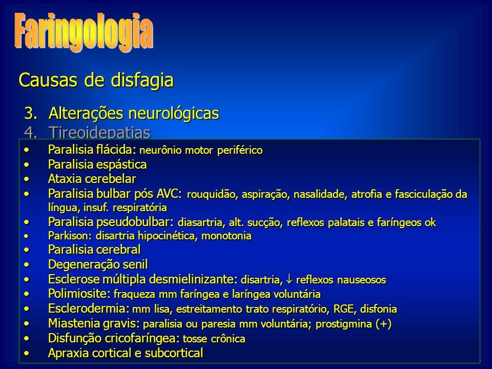 Faringologia Causas de disfagia Alterações neurológicas Tireoidepatias