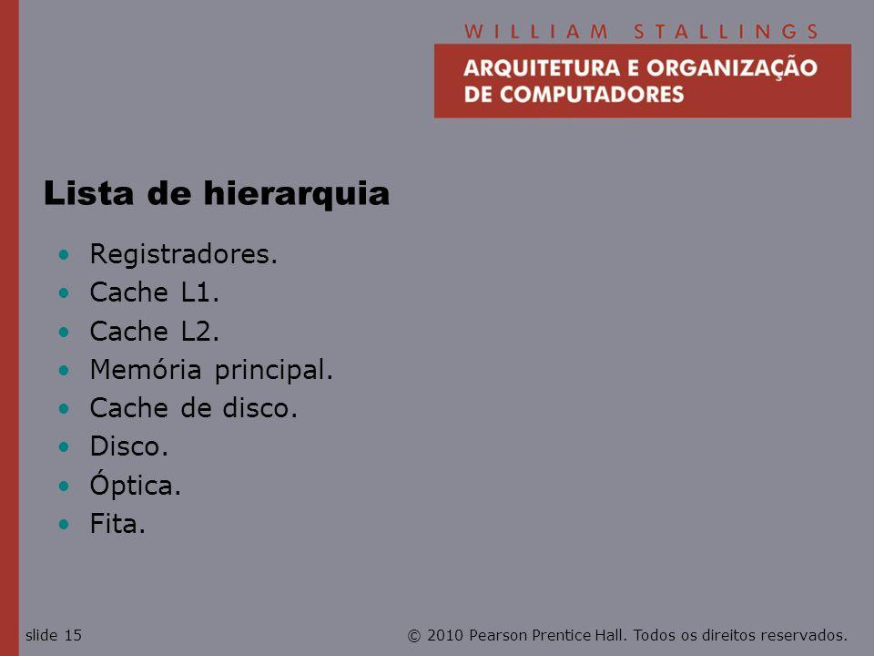 Lista de hierarquia Registradores. Cache L1. Cache L2.