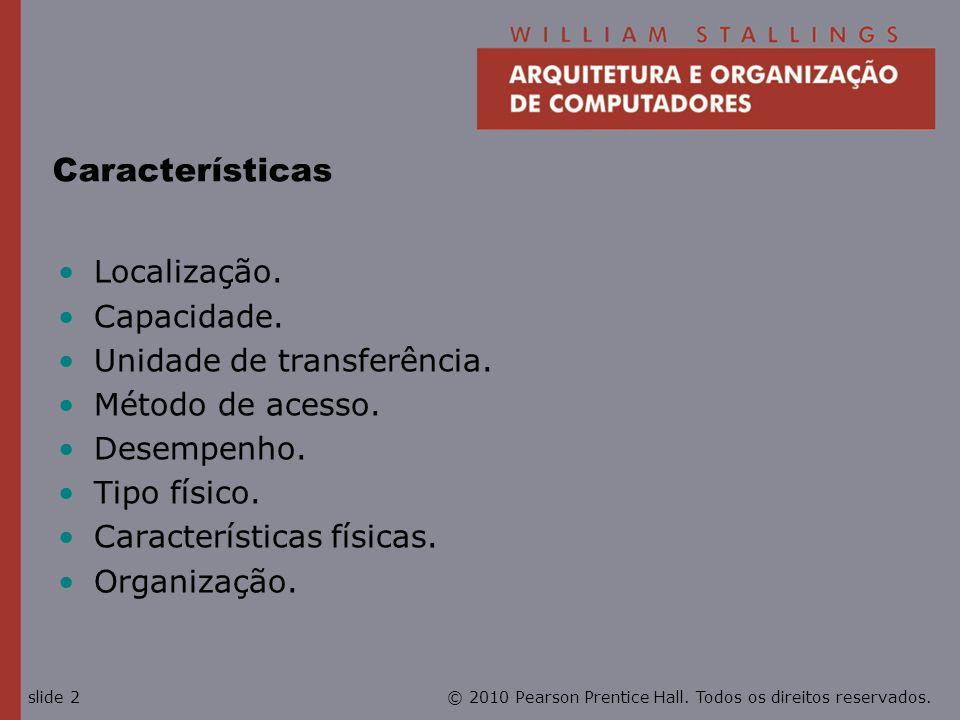 Características Localização. Capacidade. Unidade de transferência.