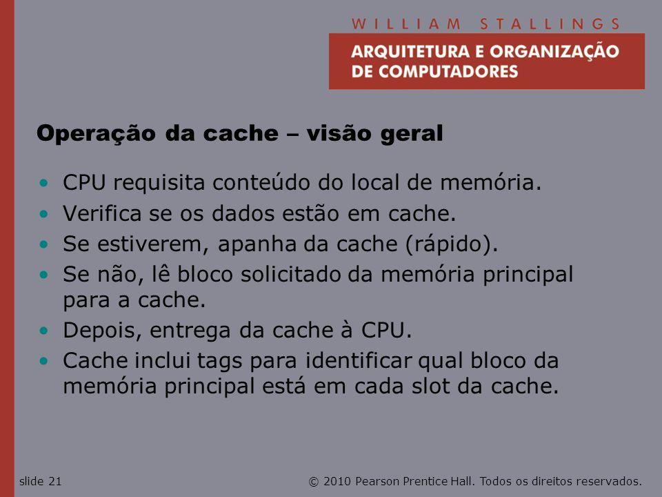Operação da cache – visão geral
