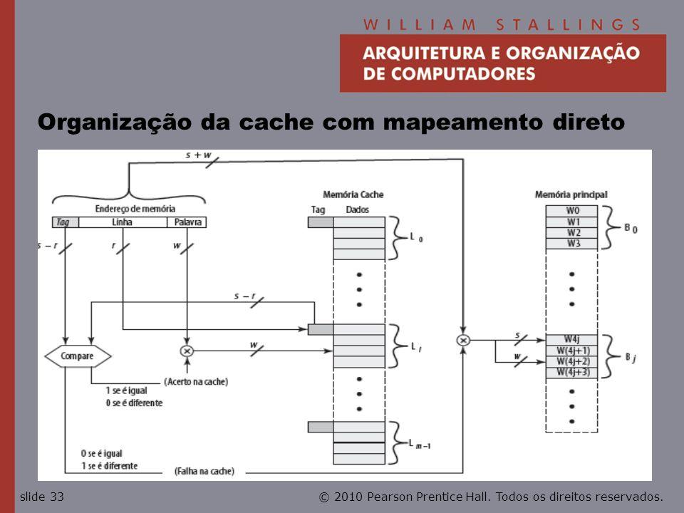 Organização da cache com mapeamento direto