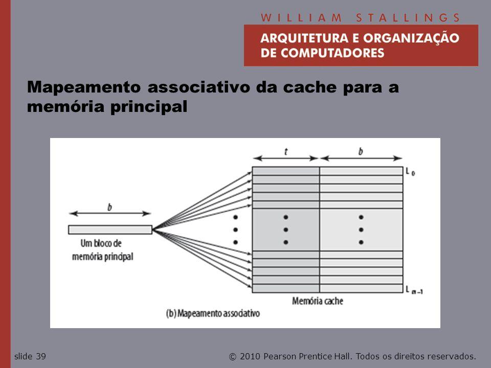 Mapeamento associativo da cache para a memória principal