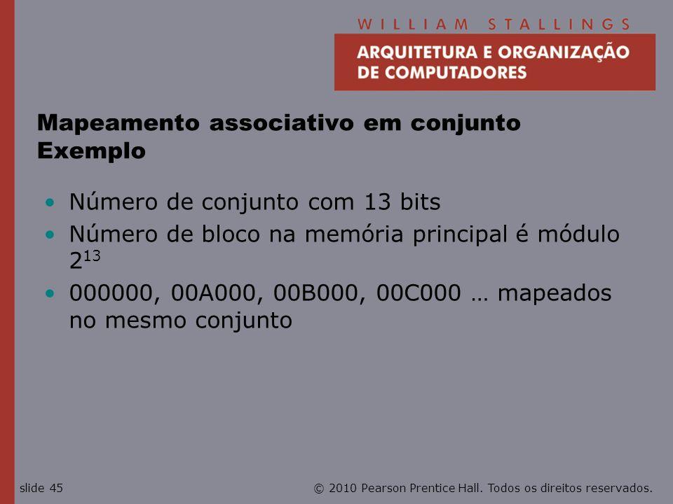 Mapeamento associativo em conjunto Exemplo