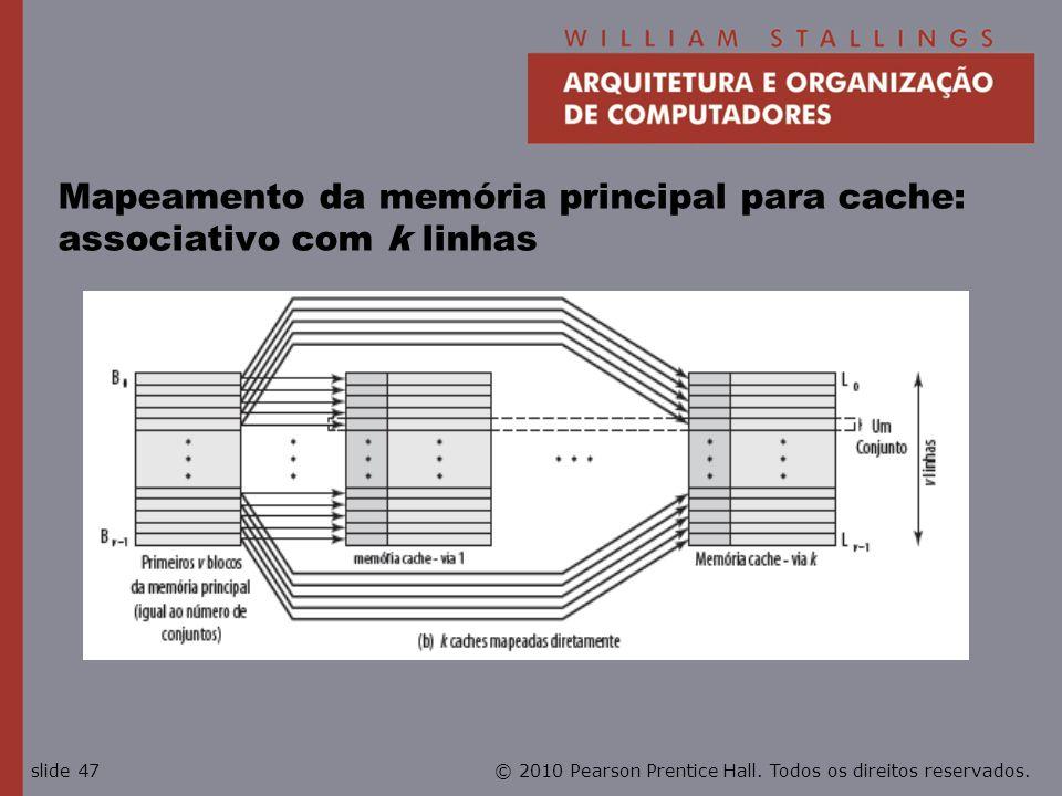 Mapeamento da memória principal para cache: associativo com k linhas