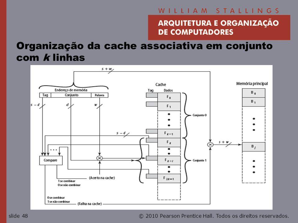 Organização da cache associativa em conjunto com k linhas