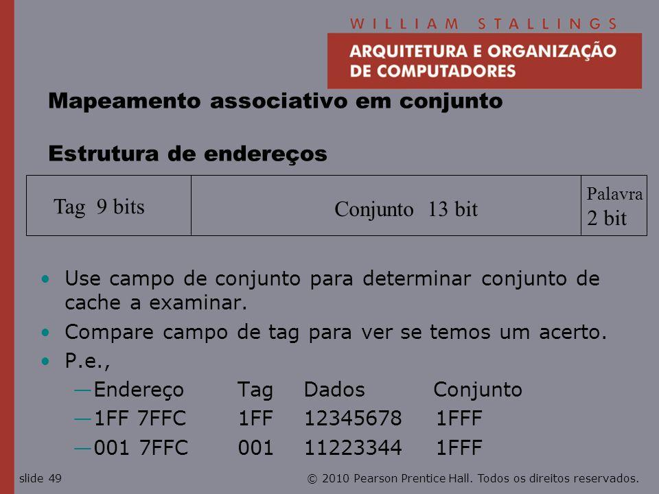 Mapeamento associativo em conjunto Estrutura de endereços