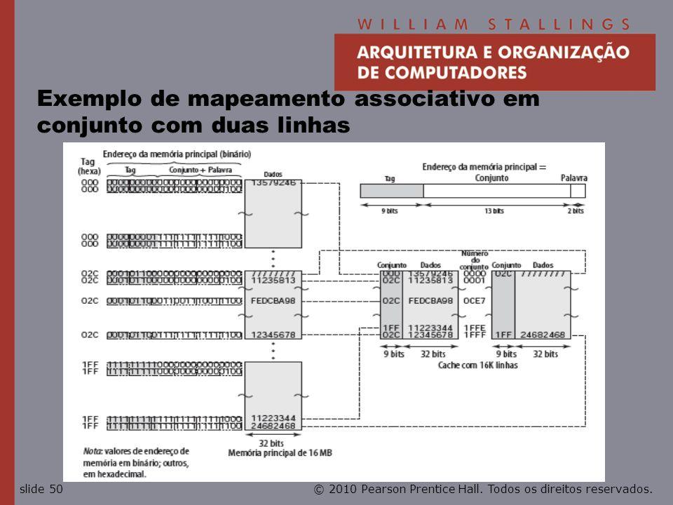 Exemplo de mapeamento associativo em conjunto com duas linhas