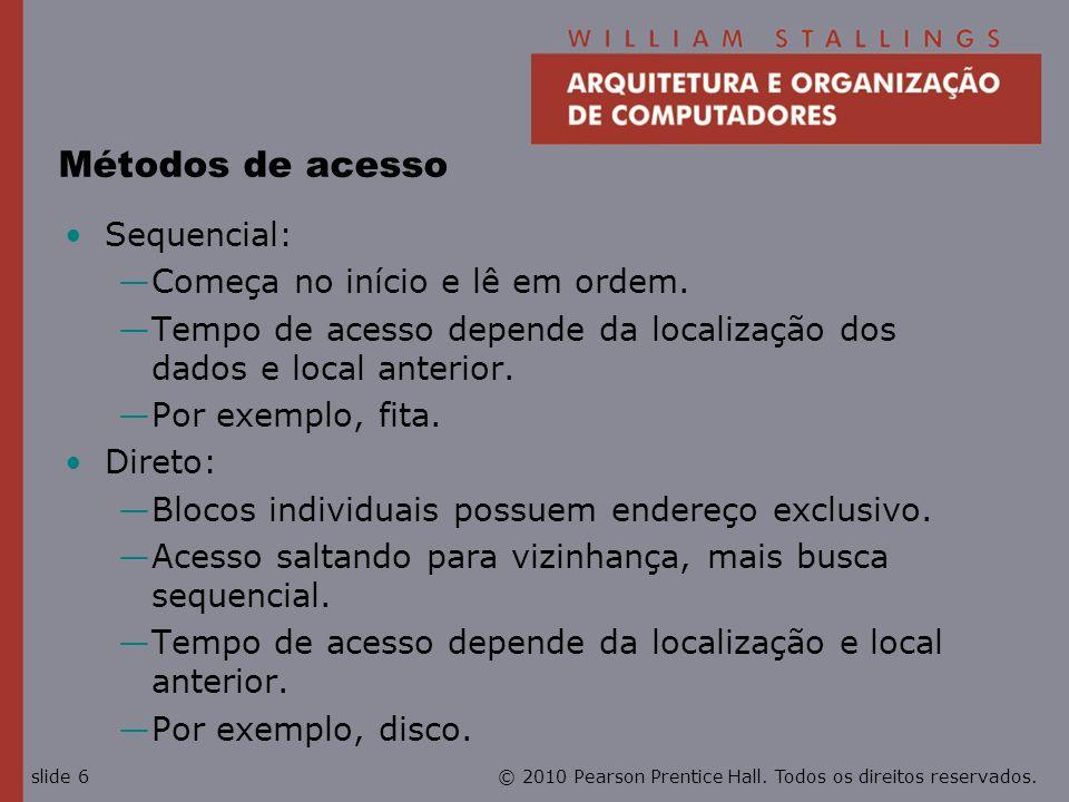 Métodos de acesso Sequencial: Começa no início e lê em ordem.