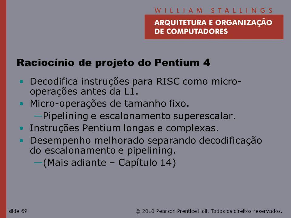 Raciocínio de projeto do Pentium 4