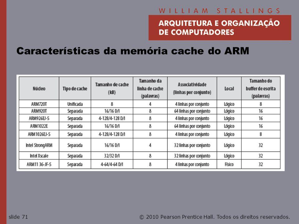 Características da memória cache do ARM