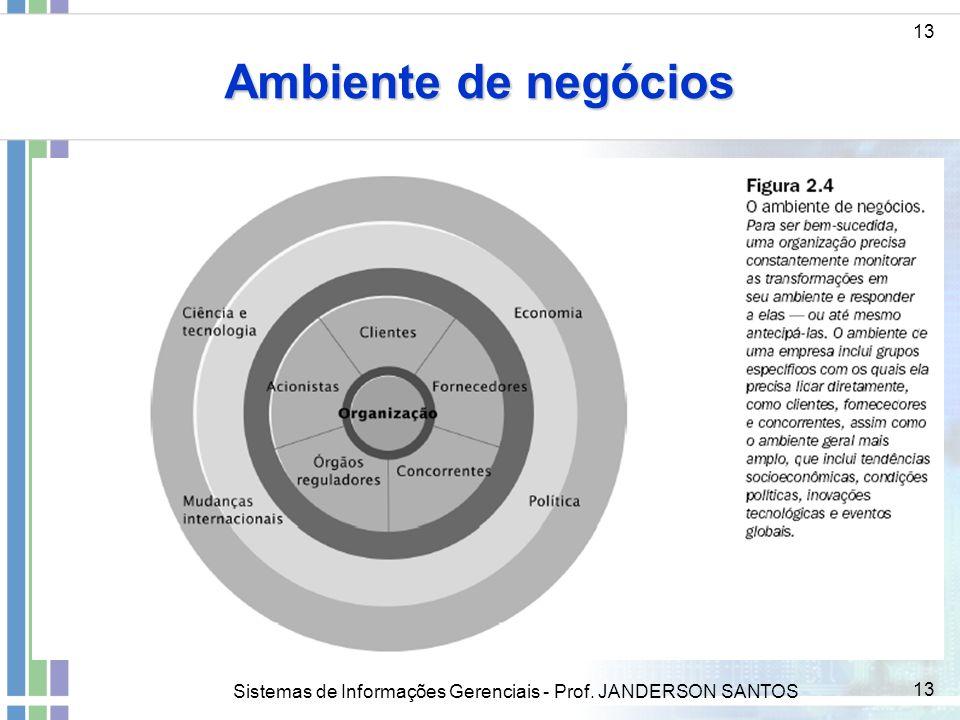 Ambiente de negócios 13 ddd Sistemas de Informações Gerenciais - Prof. JANDERSON SANTOS