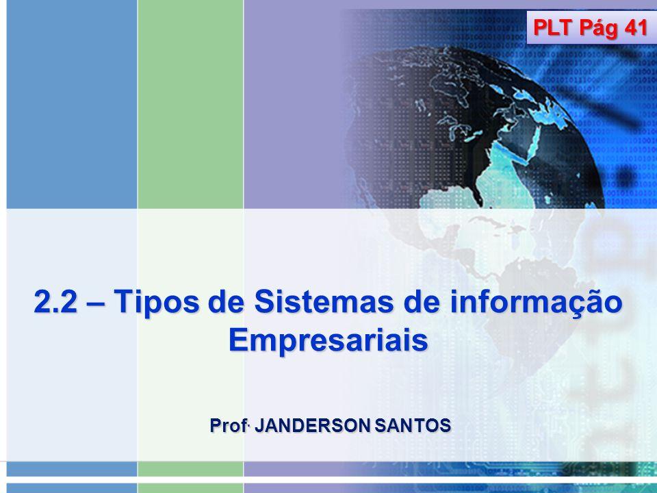 2.2 – Tipos de Sistemas de informação Empresariais