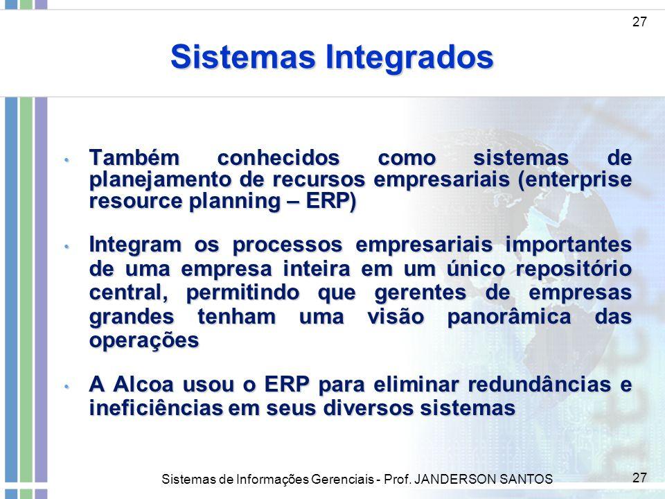 Sistemas Integrados27. Também conhecidos como sistemas de planejamento de recursos empresariais (enterprise resource planning – ERP)