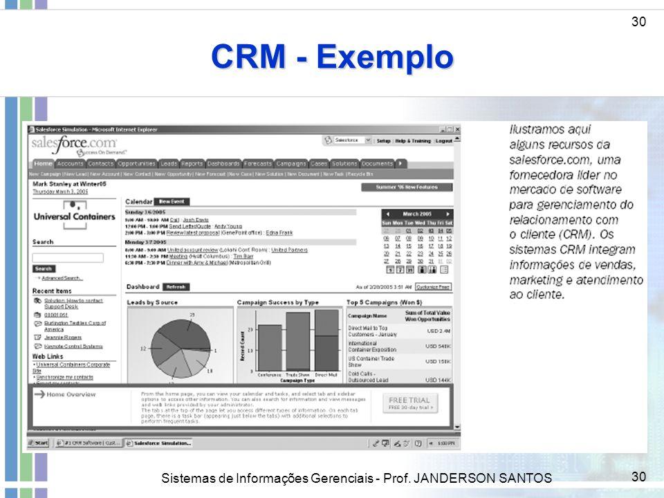 CRM - Exemplo 30 ddd Sistemas de Informações Gerenciais - Prof. JANDERSON SANTOS