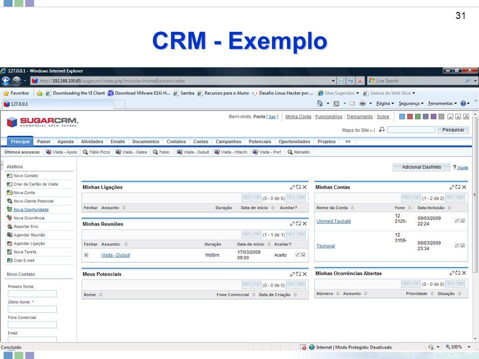 CRM - Exemplo 31 ddd Sistemas de Informações Gerenciais - Prof. JANDERSON SANTOS