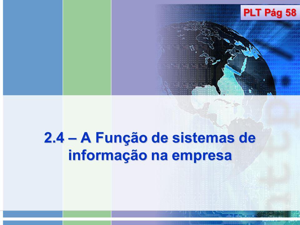 2.4 – A Função de sistemas de informação na empresa
