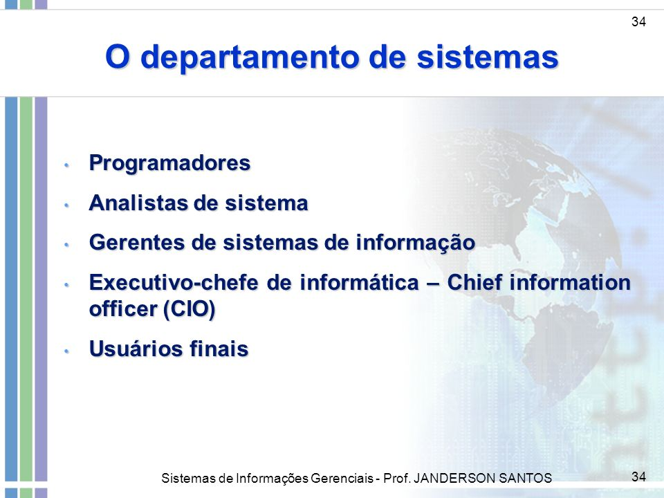 O departamento de sistemas