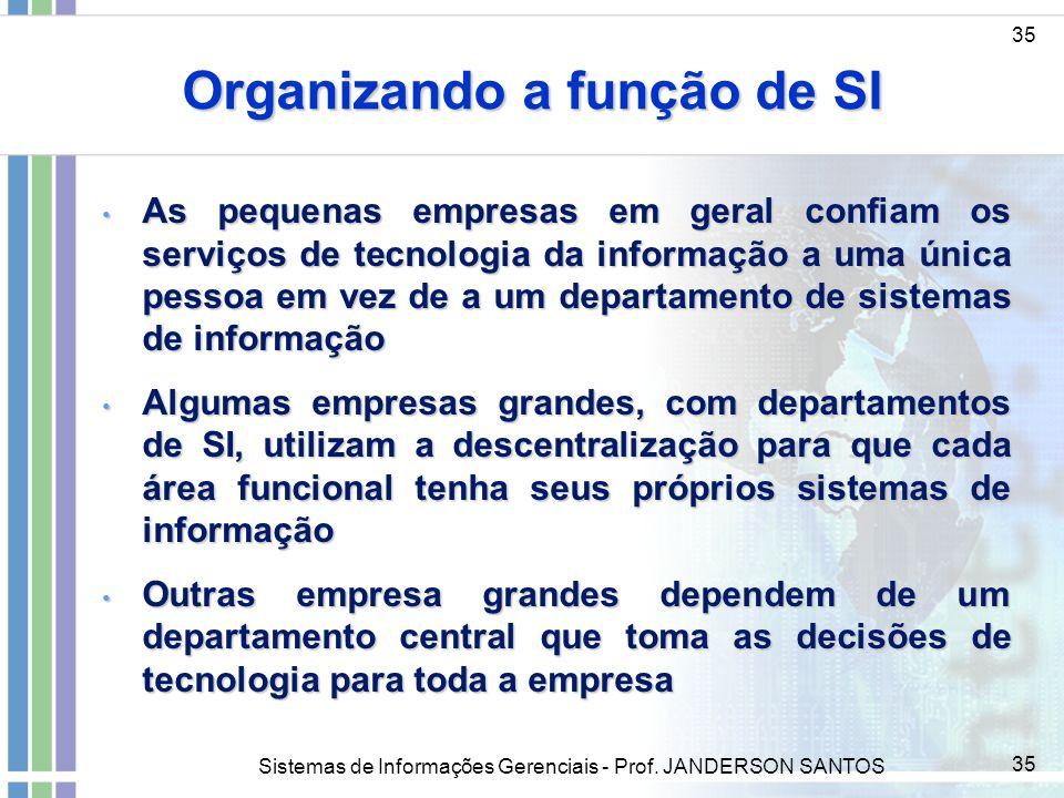 Organizando a função de SI