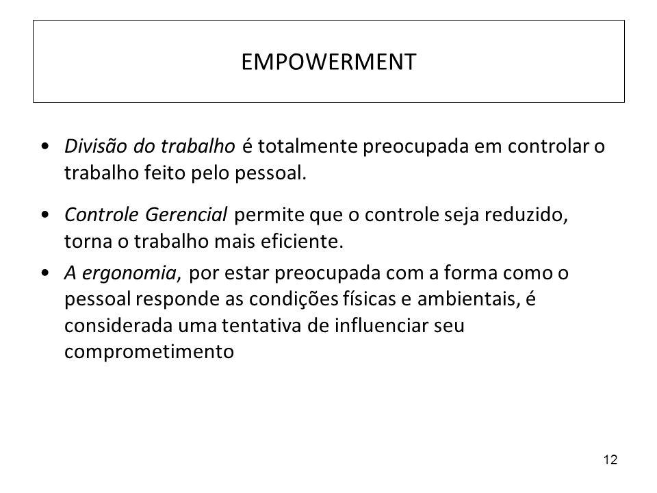 EMPOWERMENT Divisão do trabalho é totalmente preocupada em controlar o trabalho feito pelo pessoal.