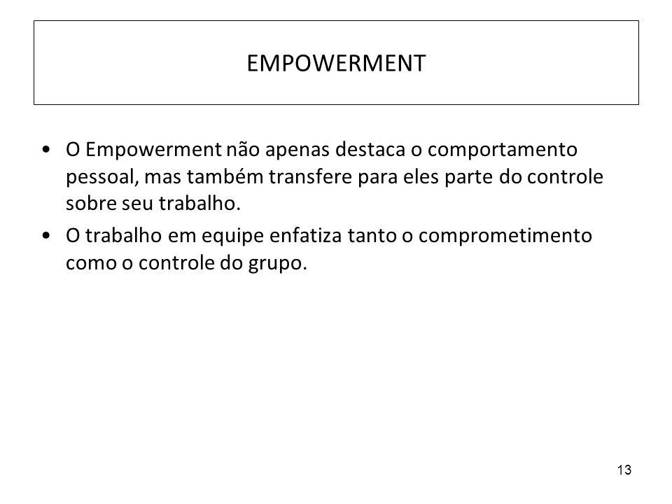EMPOWERMENT O Empowerment não apenas destaca o comportamento pessoal, mas também transfere para eles parte do controle sobre seu trabalho.