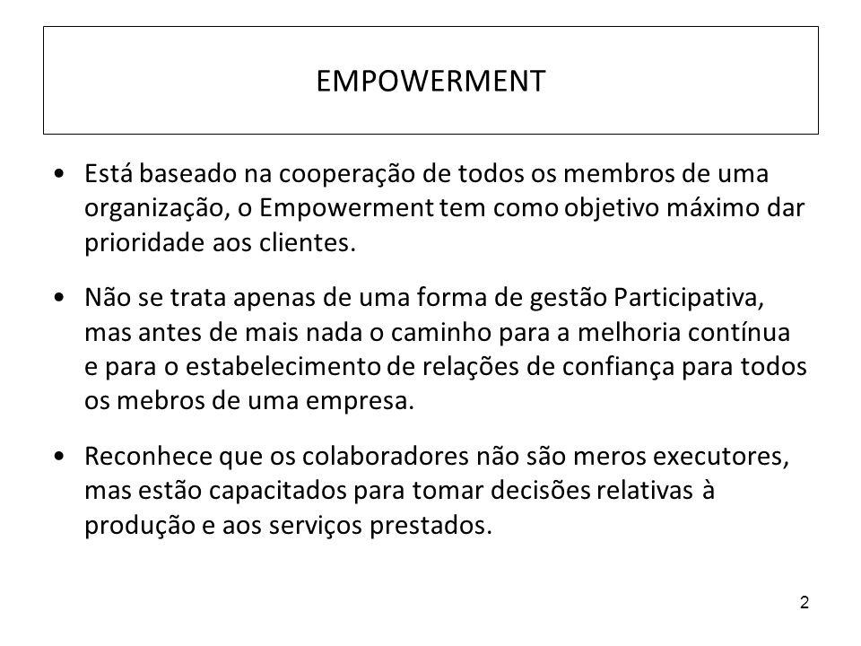 EMPOWERMENT Está baseado na cooperação de todos os membros de uma organização, o Empowerment tem como objetivo máximo dar prioridade aos clientes.