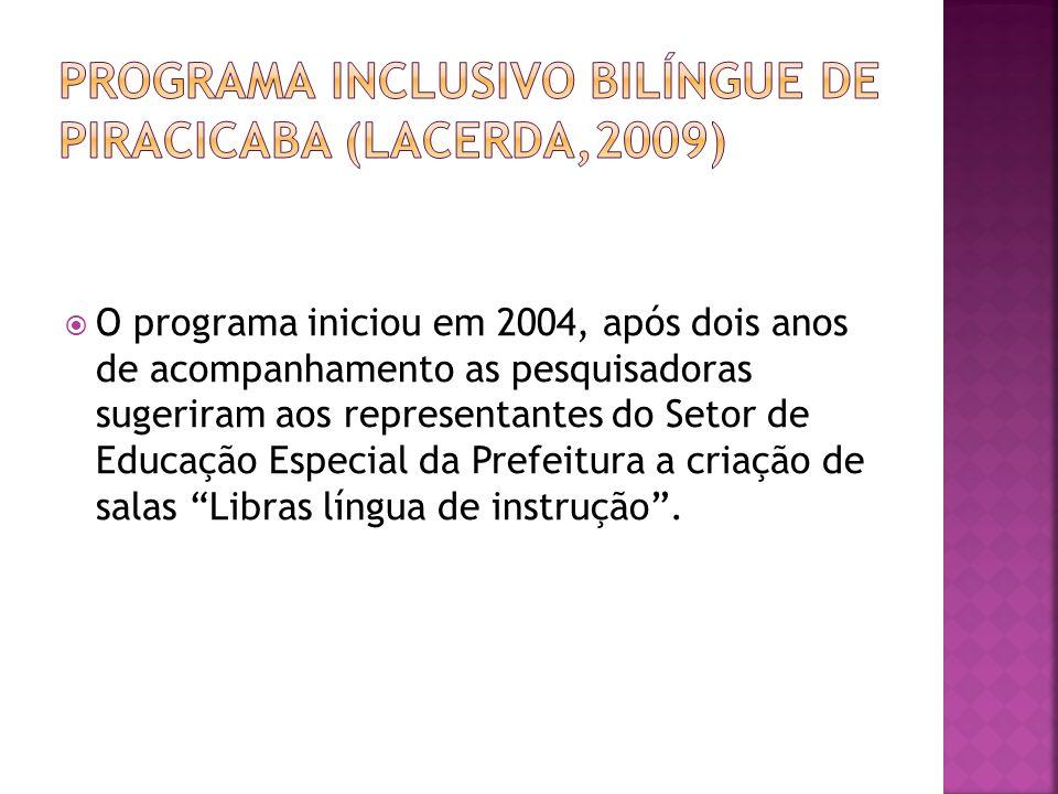 programa inclusivo bilíngue de piracicaba (Lacerda,2009)