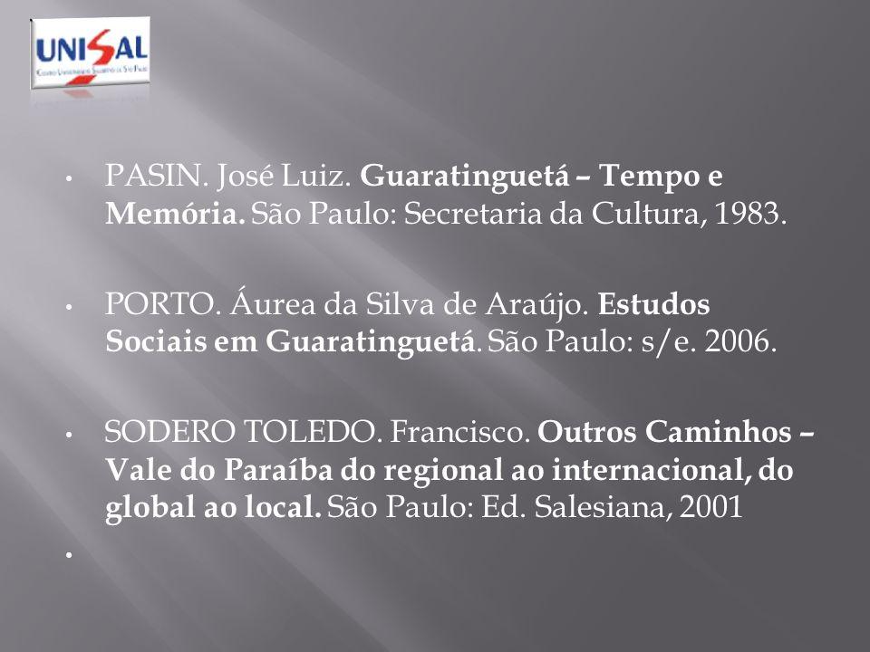 PASIN. José Luiz. Guaratinguetá – Tempo e Memória