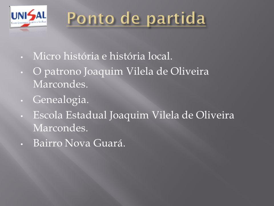 Ponto de partida Micro história e história local.