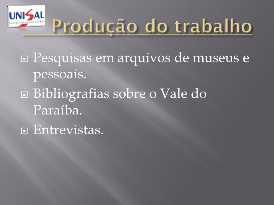 Produção do trabalho Pesquisas em arquivos de museus e pessoais.