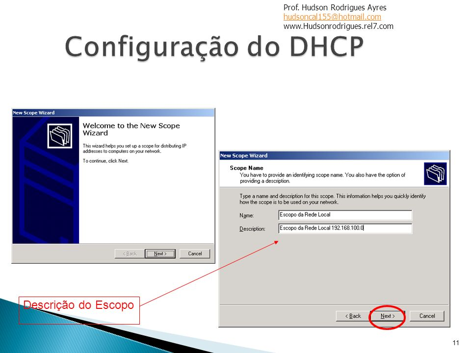 Configuração do DHCP Descrição do Escopo Prof. Hudson Rodrigues Ayres