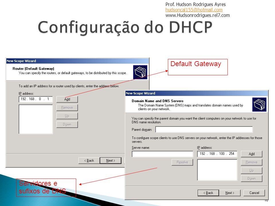 Configuração do DHCP Default Gateway Servidores e sufixos de DNS