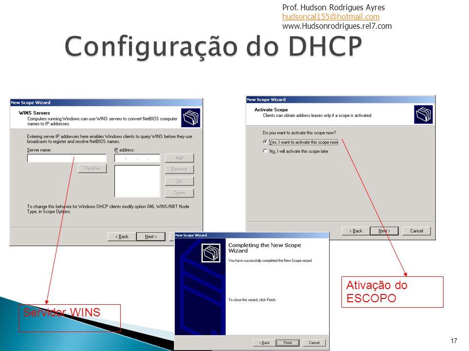 Configuração do DHCP Ativação do ESCOPO Servidor WINS