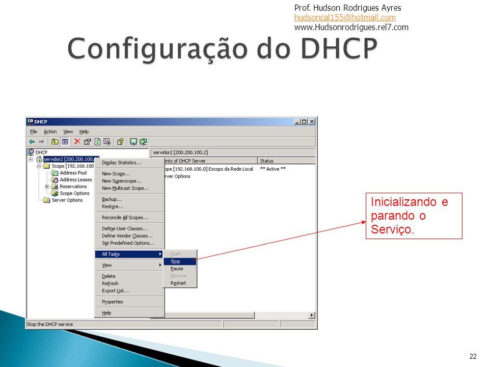 Configuração do DHCP Inicializando e parando o Serviço.