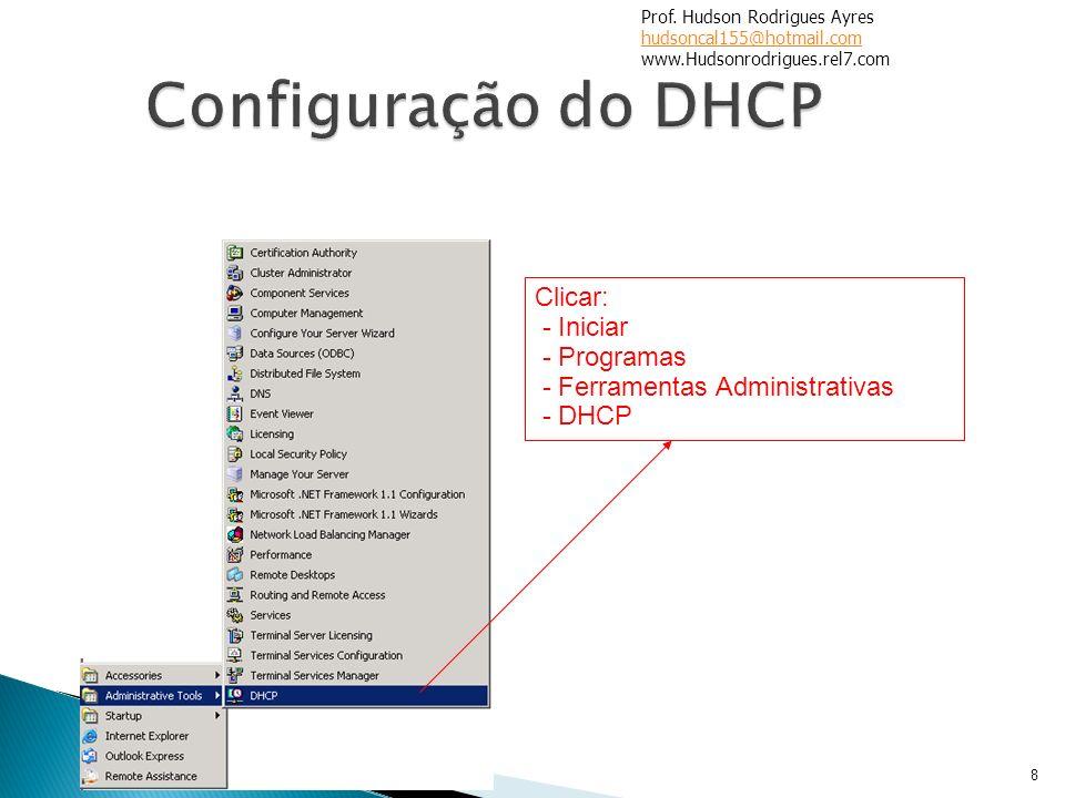 Configuração do DHCP Clicar: - Iniciar - Programas