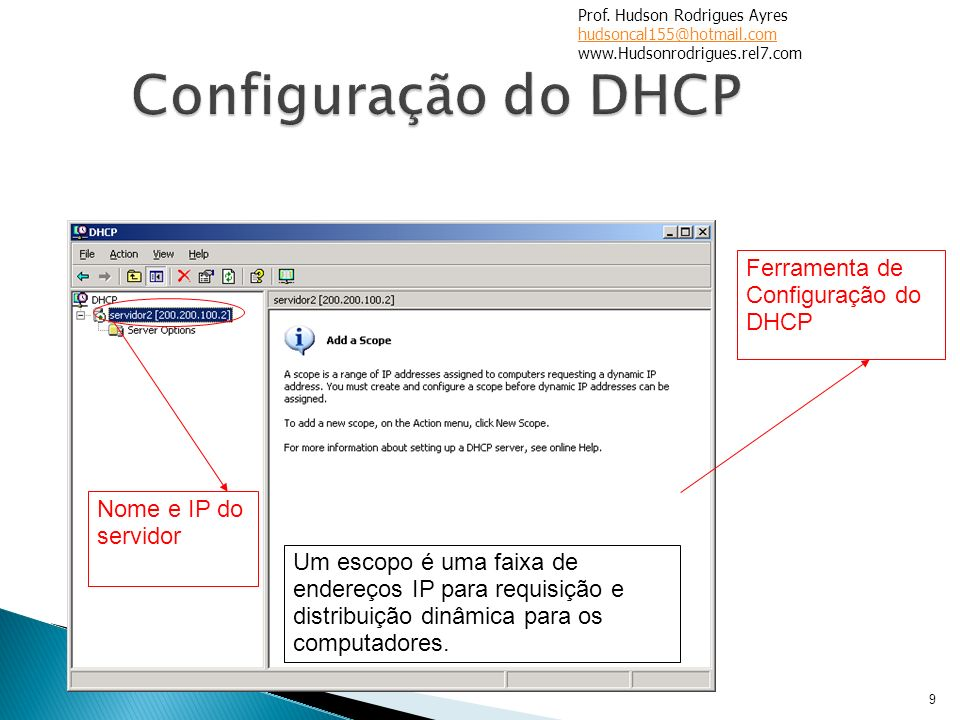 Configuração do DHCP Ferramenta de Configuração do DHCP