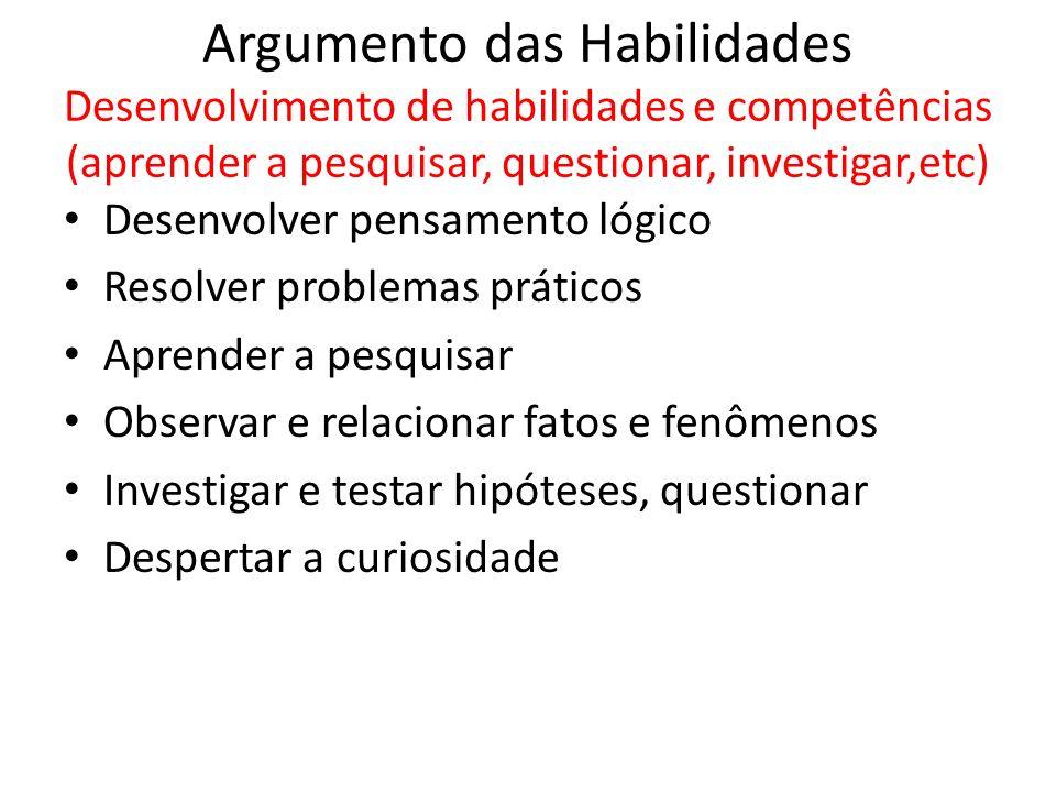 Argumento das Habilidades Desenvolvimento de habilidades e competências (aprender a pesquisar, questionar, investigar,etc)