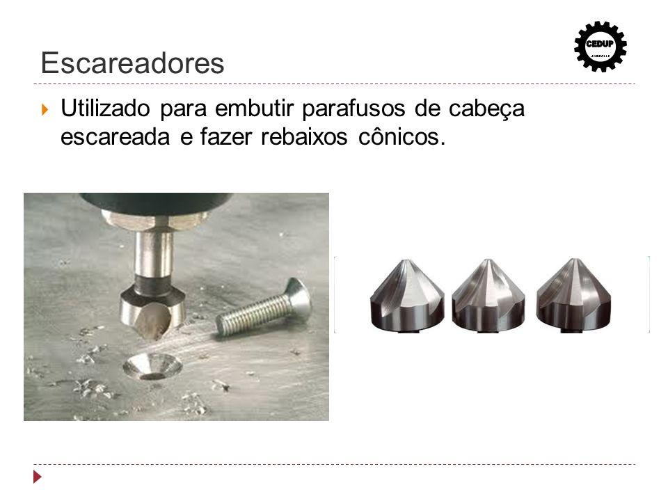 Escareadores CEDUP Utilizado para embutir parafusos de cabeça escareada e fazer rebaixos cônicos.