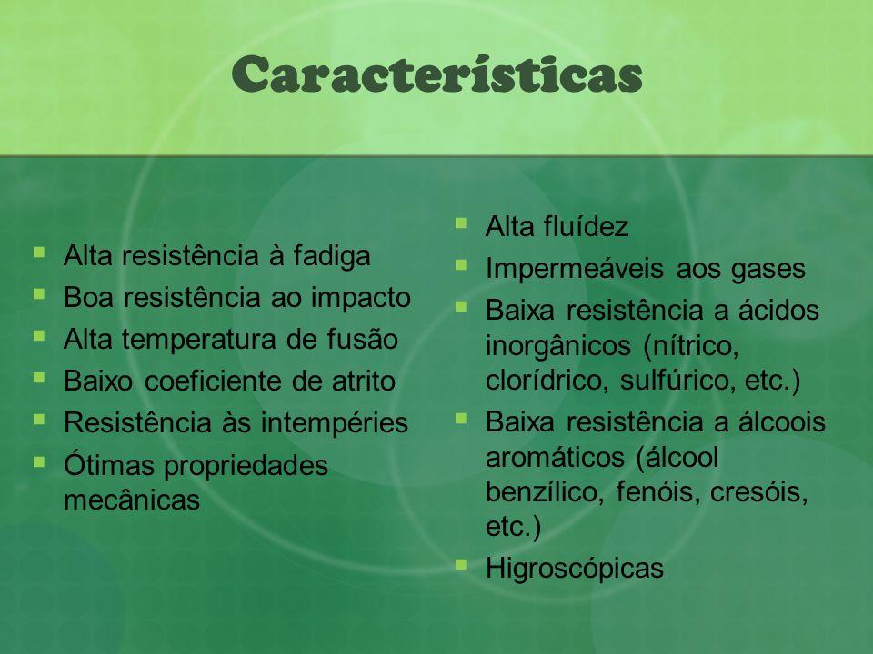 Características Alta fluídez Impermeáveis aos gases