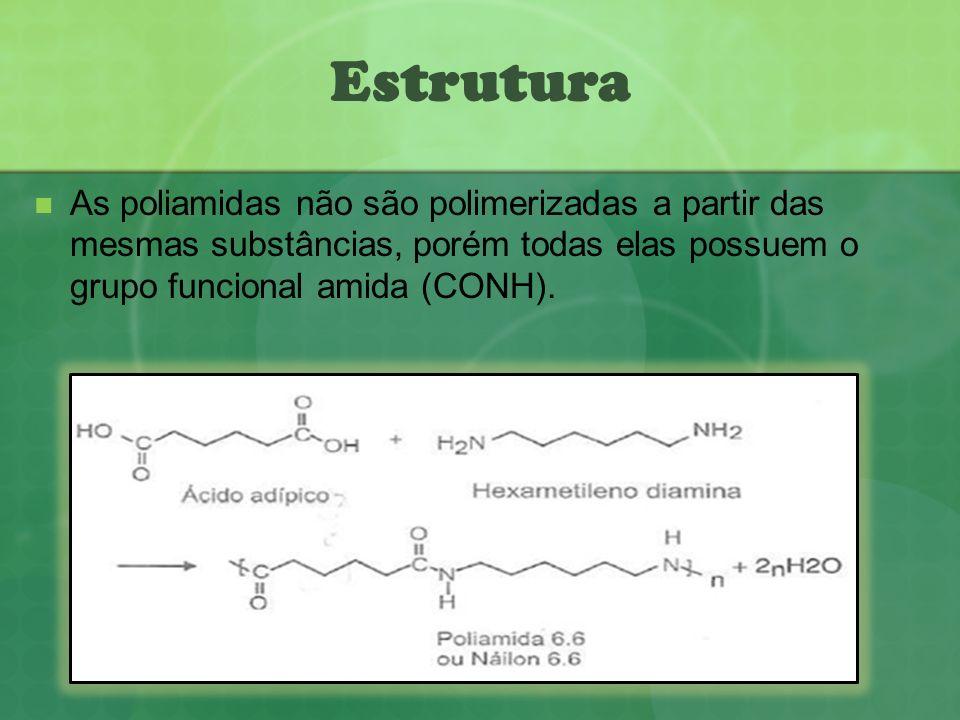 EstruturaAs poliamidas não são polimerizadas a partir das mesmas substâncias, porém todas elas possuem o grupo funcional amida (CONH).