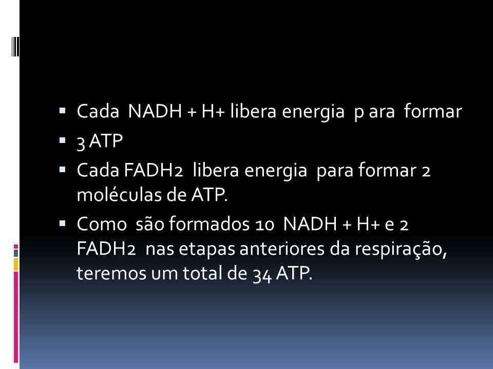 Cada NADH + H+ libera energia p ara formar