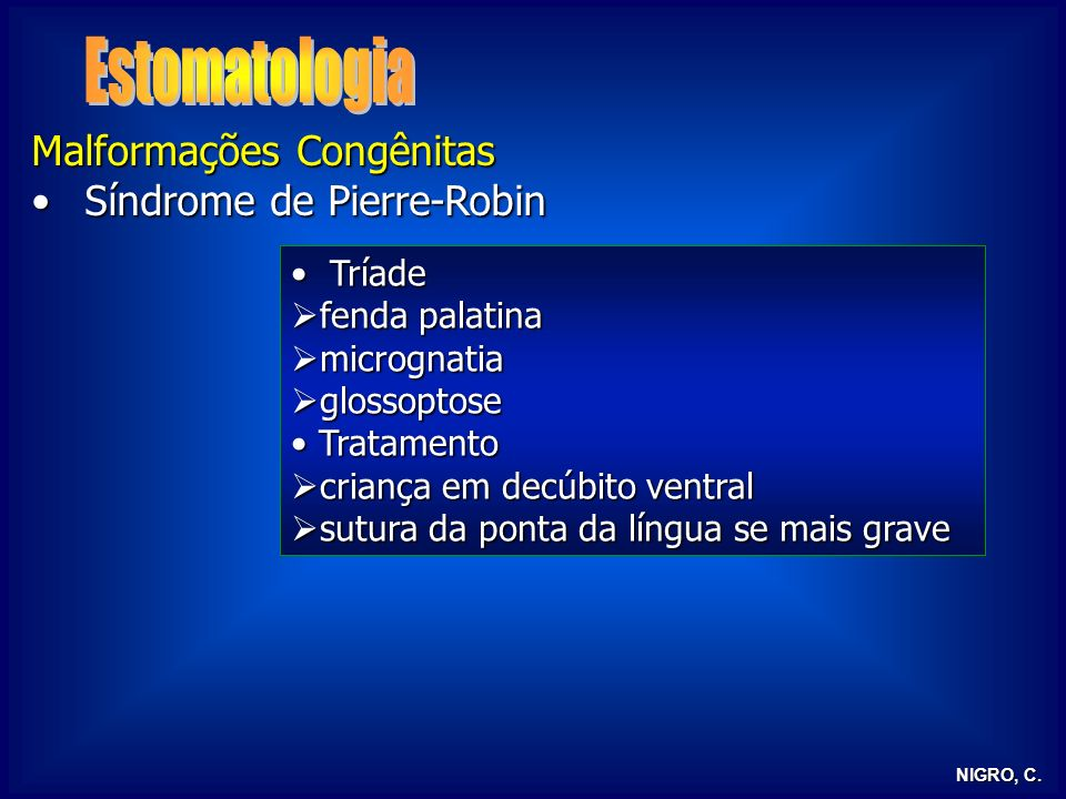 Estomatologia Malformações Congênitas Síndrome de Pierre-Robin Tríade