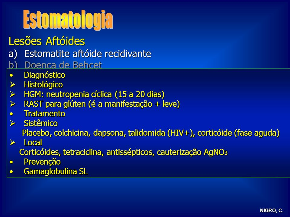 Estomatologia Lesões Aftóides Estomatite aftóide recidivante