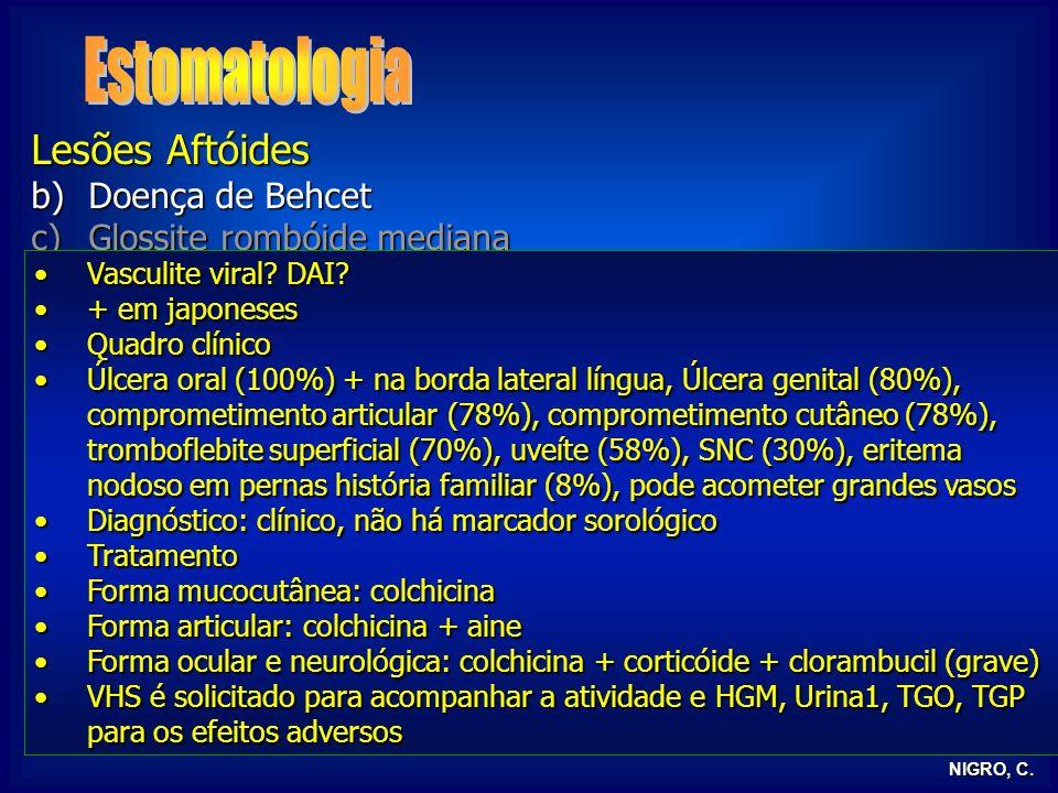 Estomatologia Lesões Aftóides Doença de Behcet