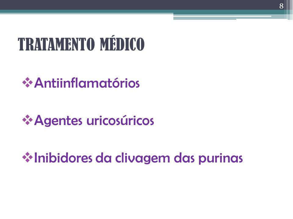 TRATAMENTO MÉDICO Antiinflamatórios Agentes uricosúricos