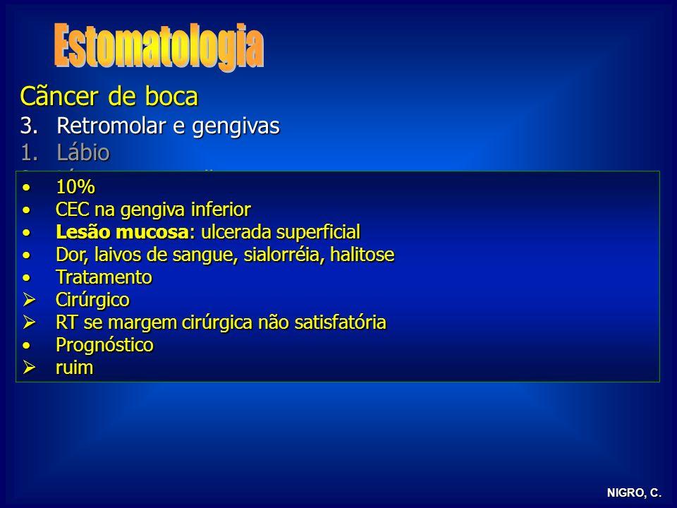Estomatologia Cãncer de boca Retromolar e gengivas Lábio