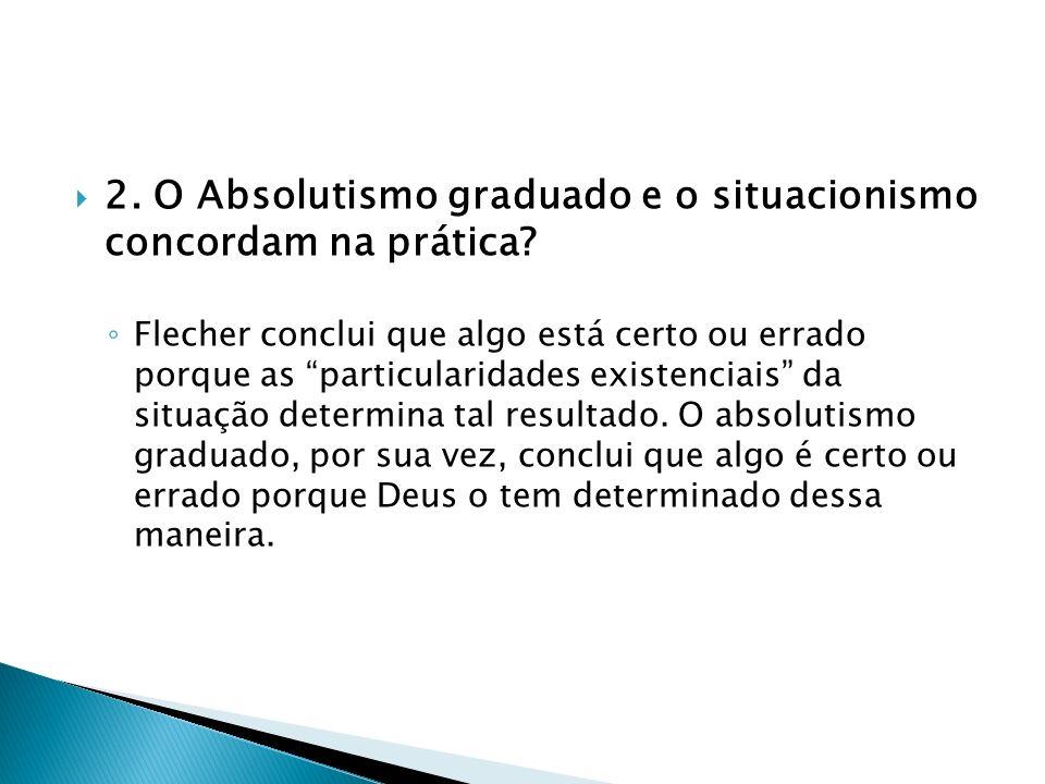 2. O Absolutismo graduado e o situacionismo concordam na prática