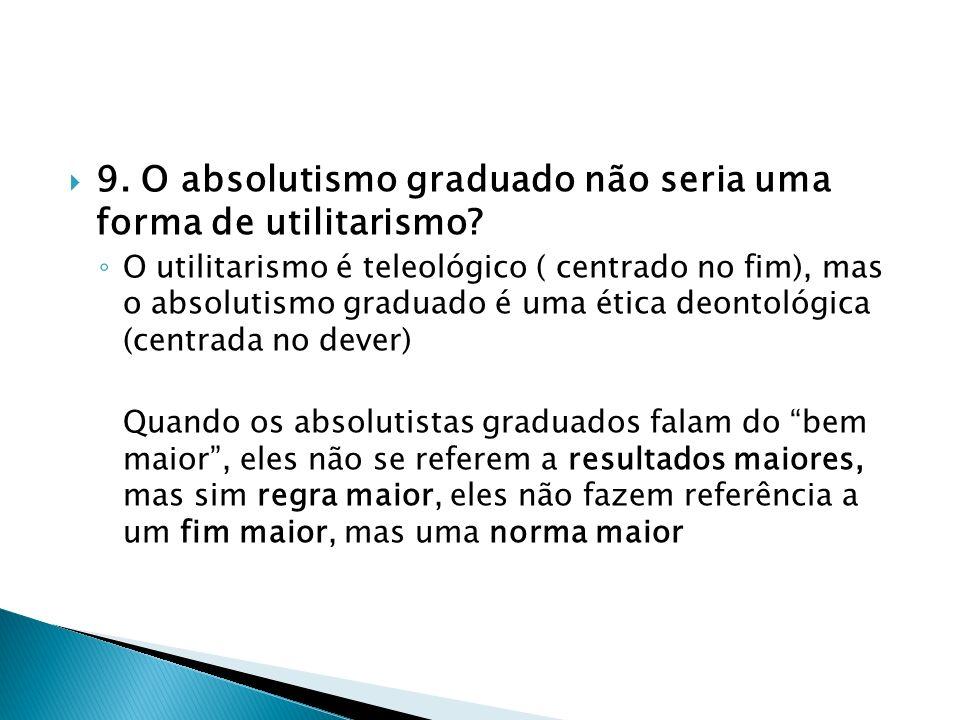 9. O absolutismo graduado não seria uma forma de utilitarismo